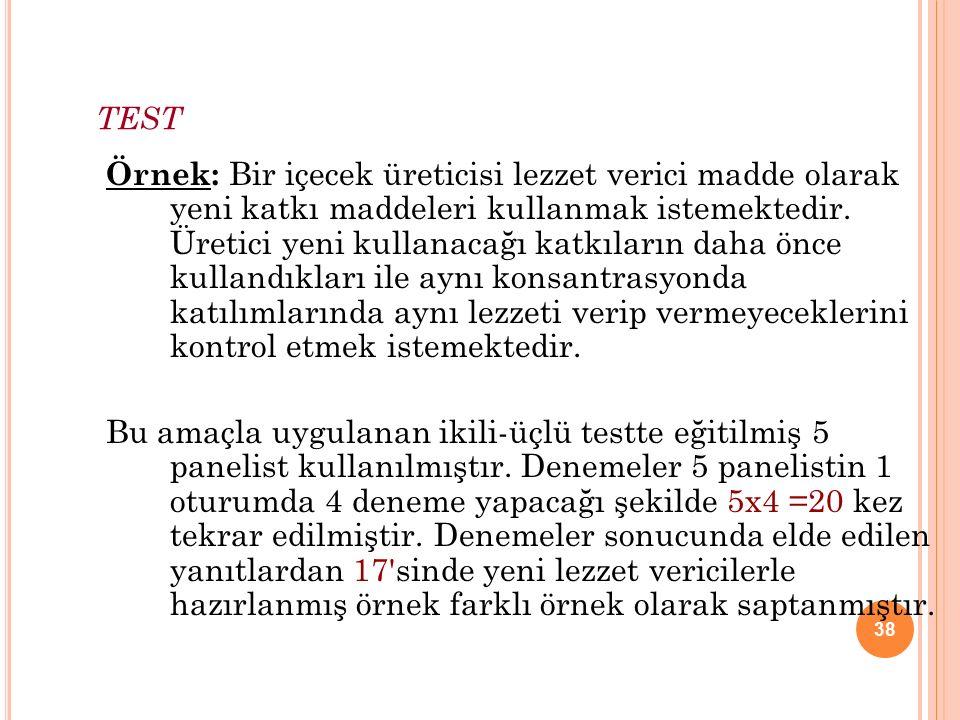 38 TEST Örnek: Bir içecek üreticisi lezzet verici madde olarak yeni katkı maddeleri kullanmak istemektedir.