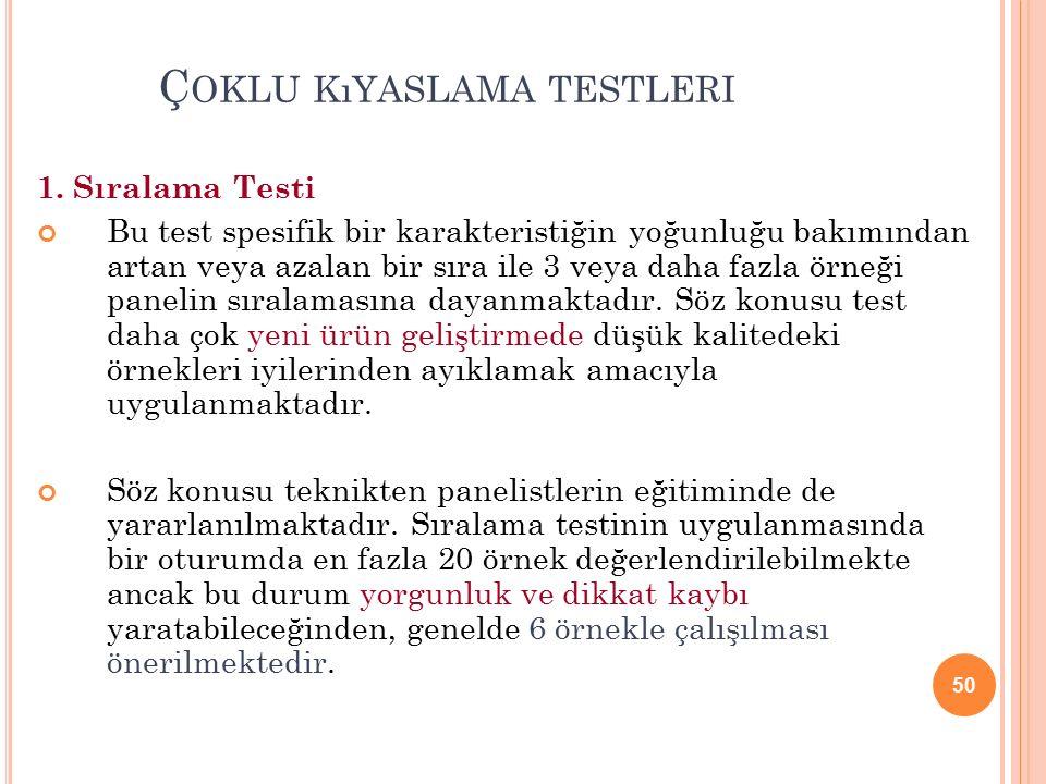 50 Ç OKLU KıYASLAMA TESTLERI 1.