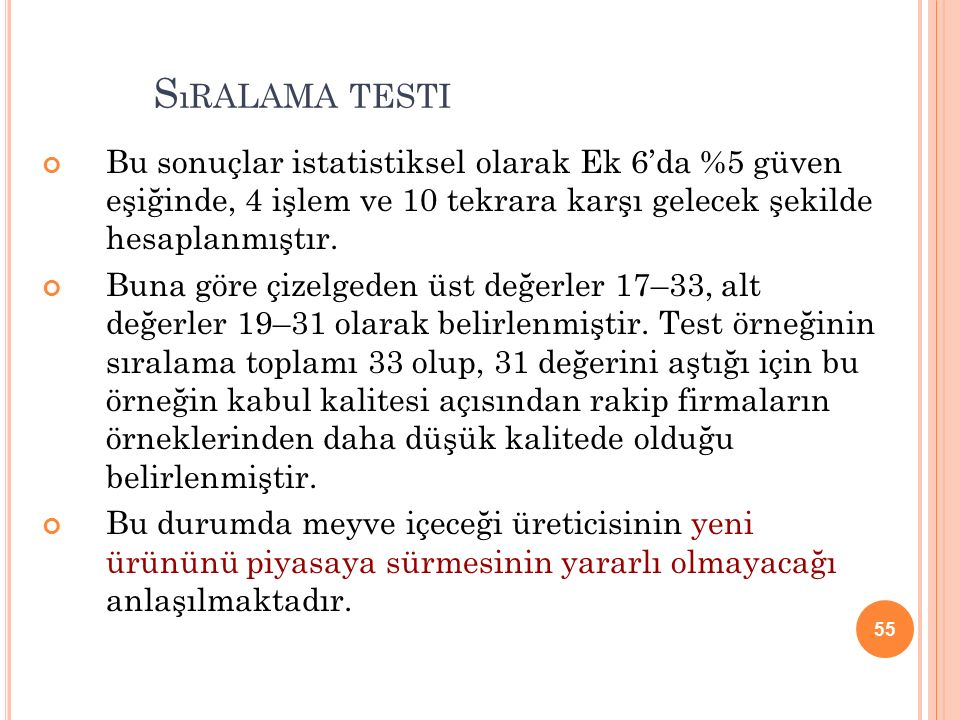 55 S ıRALAMA TESTI Bu sonuçlar istatistiksel olarak Ek 6'da %5 güven eşiğinde, 4 işlem ve 10 tekrara karşı gelecek şekilde hesaplanmıştır.