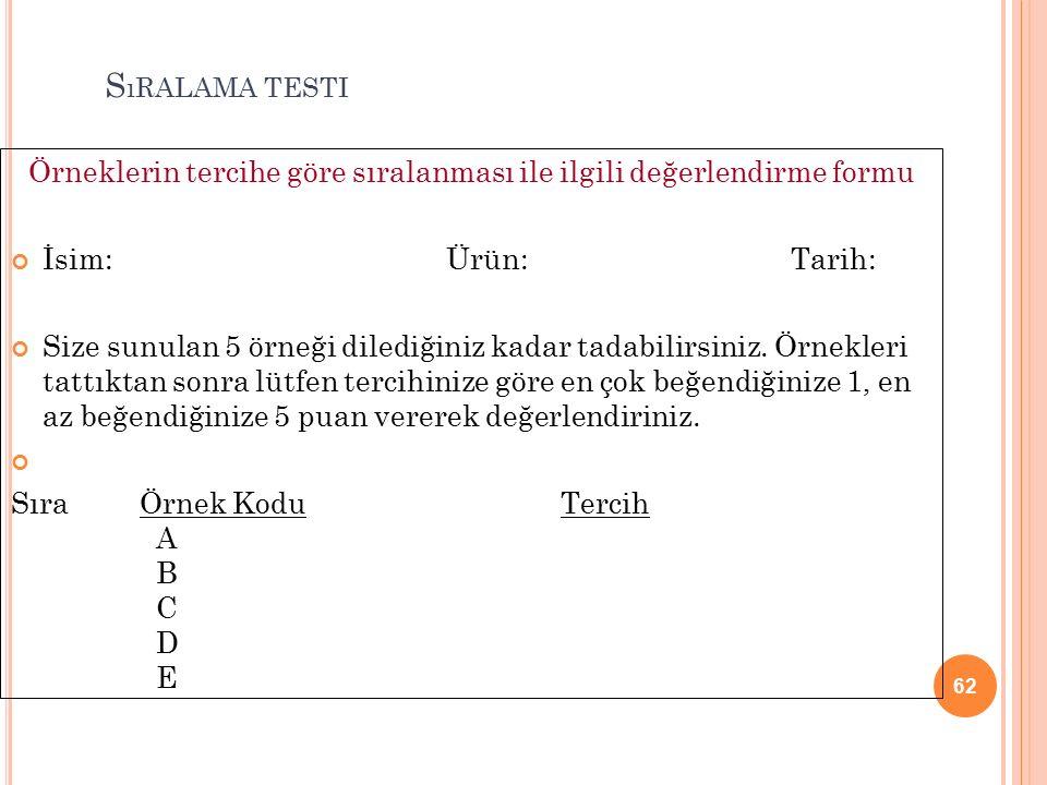 62 S ıRALAMA TESTI Örneklerin tercihe göre sıralanması ile ilgili değerlendirme formu İsim: Ürün: Tarih: Size sunulan 5 örneği dilediğiniz kadar tadabilirsiniz.