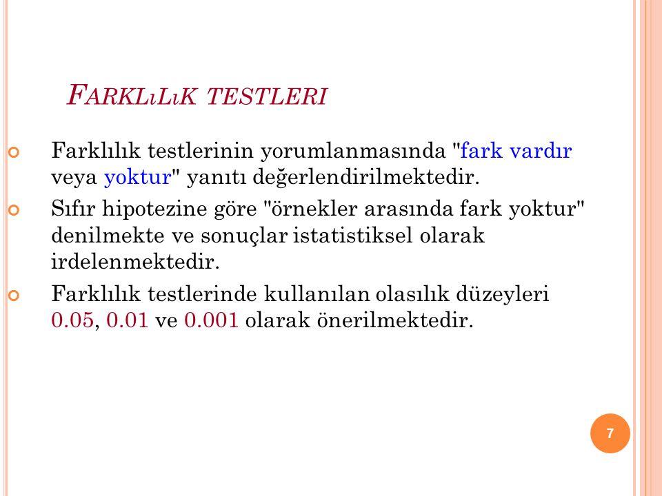 7 F ARKLıLıK TESTLERI Farklılık testlerinin yorumlanmasında fark vardır veya yoktur yanıtı değerlendirilmektedir.
