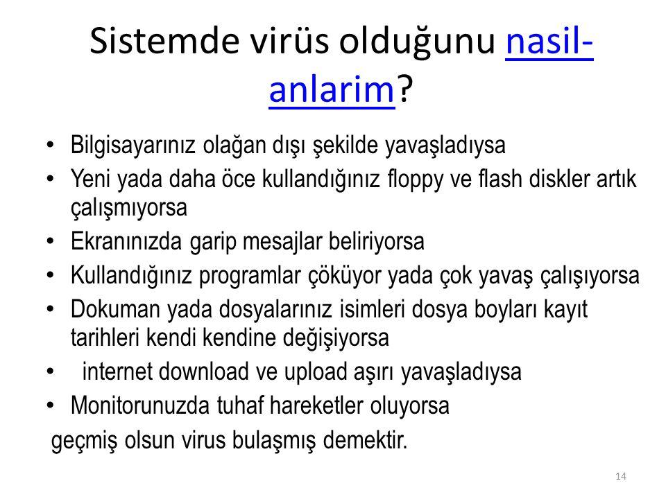 Sistemde virüs olduğunu nasil- anlarim?nasil- anlarim Bilgisayarınız olağan dışı şekilde yavaşladıysa Yeni yada daha öce kullandığınız floppy ve flash