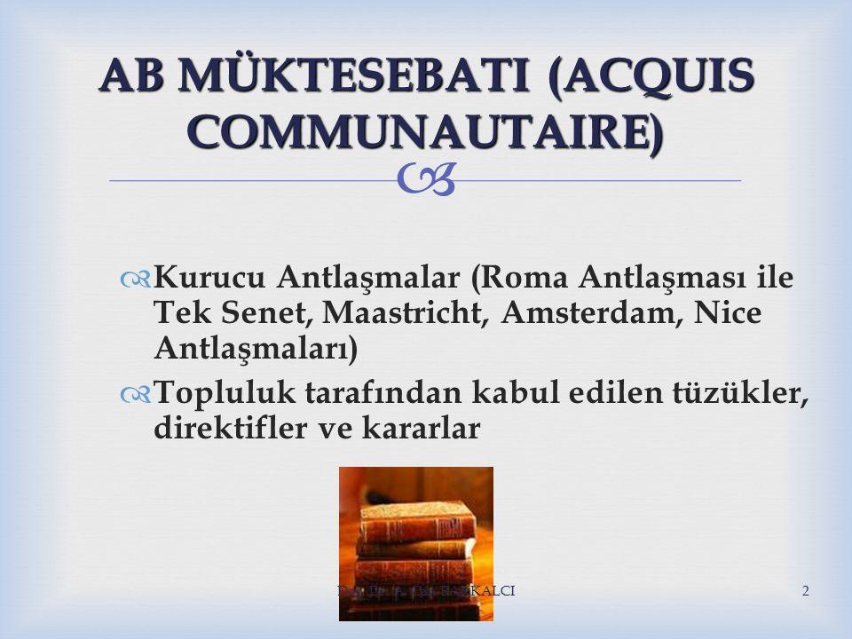  AB MÜKTESEBATI (ACQUIS COMMUNAUTAIRE)  Kurucu Antlaşmalar (Roma Antlaşması ile Tek Senet, Maastricht, Amsterdam, Nice Antlaşmaları)  Topluluk tarafından kabul edilen tüzükler, direktifler ve kararlar Doç.