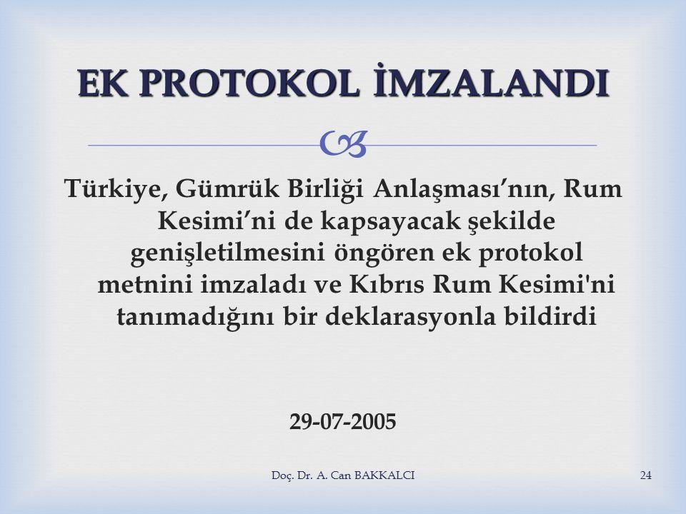  EK PROTOKOL İMZALANDI Türkiye, Gümrük Birliği Anlaşması'nın, Rum Kesimi'ni de kapsayacak şekilde genişletilmesini öngören ek protokol metnini imzaladı ve Kıbrıs Rum Kesimi ni tanımadığını bir deklarasyonla bildirdi 29-07-2005 Doç.