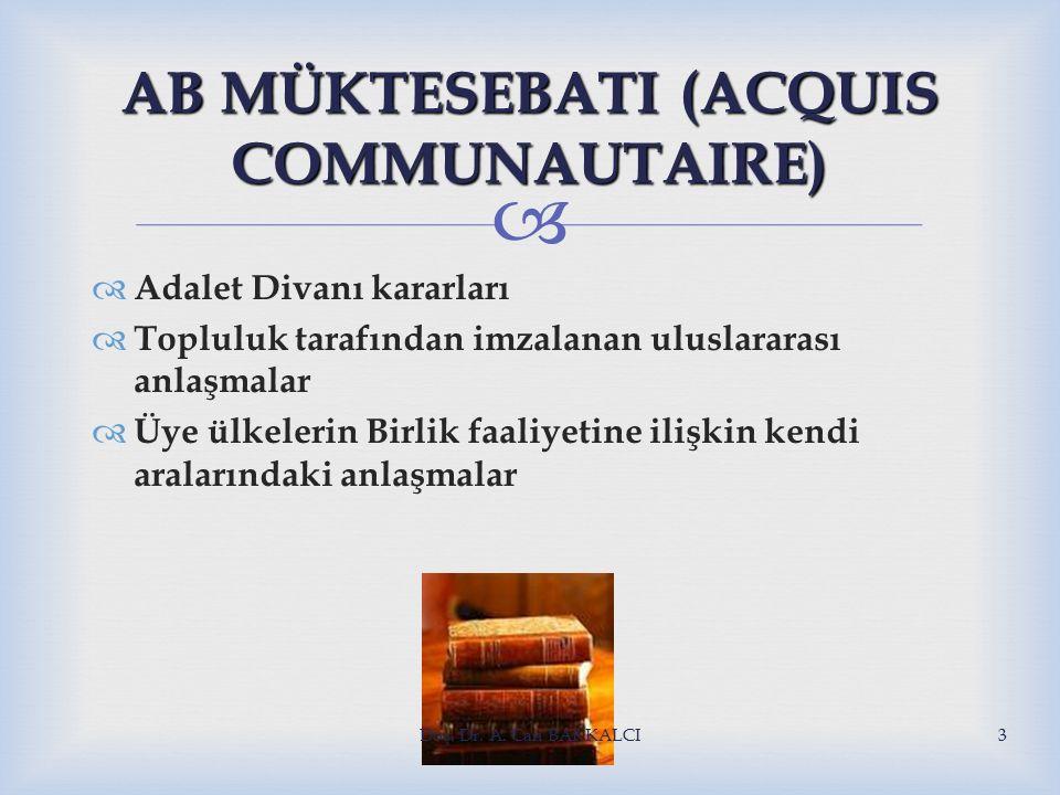  AB MÜKTESEBATI (ACQUIS COMMUNAUTAIRE)  Adalet Divanı kararları  Topluluk tarafından imzalanan uluslararası anlaşmalar  Üye ülkelerin Birlik faaliyetine ilişkin kendi aralarındaki anlaşmalar Doç.