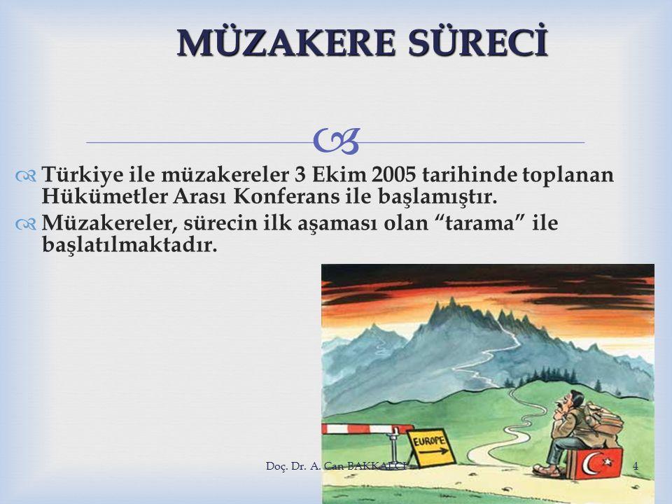  MÜZAKERE SÜRECİ  Türkiye ile müzakereler 3 Ekim 2005 tarihinde toplanan Hükümetler Arası Konferans ile başlamıştır.