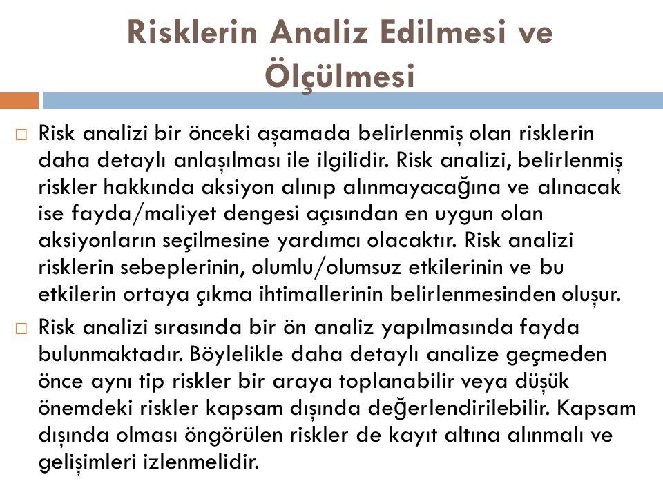 Risklerin Analiz Edilmesi ve Ölçülmesi  Risk analizi bir önceki aşamada belirlenmiş olan risklerin daha detaylı anlaşılması ile ilgilidir.