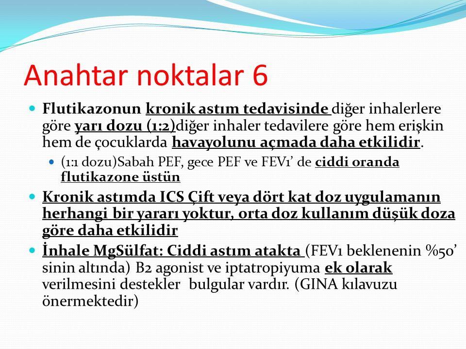 Anahtar noktalar 6 Flutikazonun kronik astım tedavisinde diğer inhalerlere göre yarı dozu (1:2)diğer inhaler tedavilere göre hem erişkin hem de çocukl