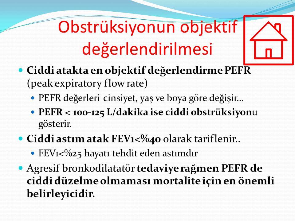 Ciddi atakta en objektif değerlendirme PEFR (peak expiratory flow rate) PEFR değerleri cinsiyet, yaş ve boya göre değişir… PEFR < 100-125 L/dakika ise