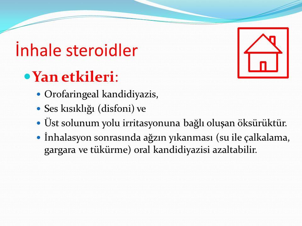 İnhale steroidler Yan etkileri: Orofaringeal kandidiyazis, Ses kısıklığı (disfoni) ve Üst solunum yolu irritasyonuna bağlı oluşan öksürüktür. İnhalasy