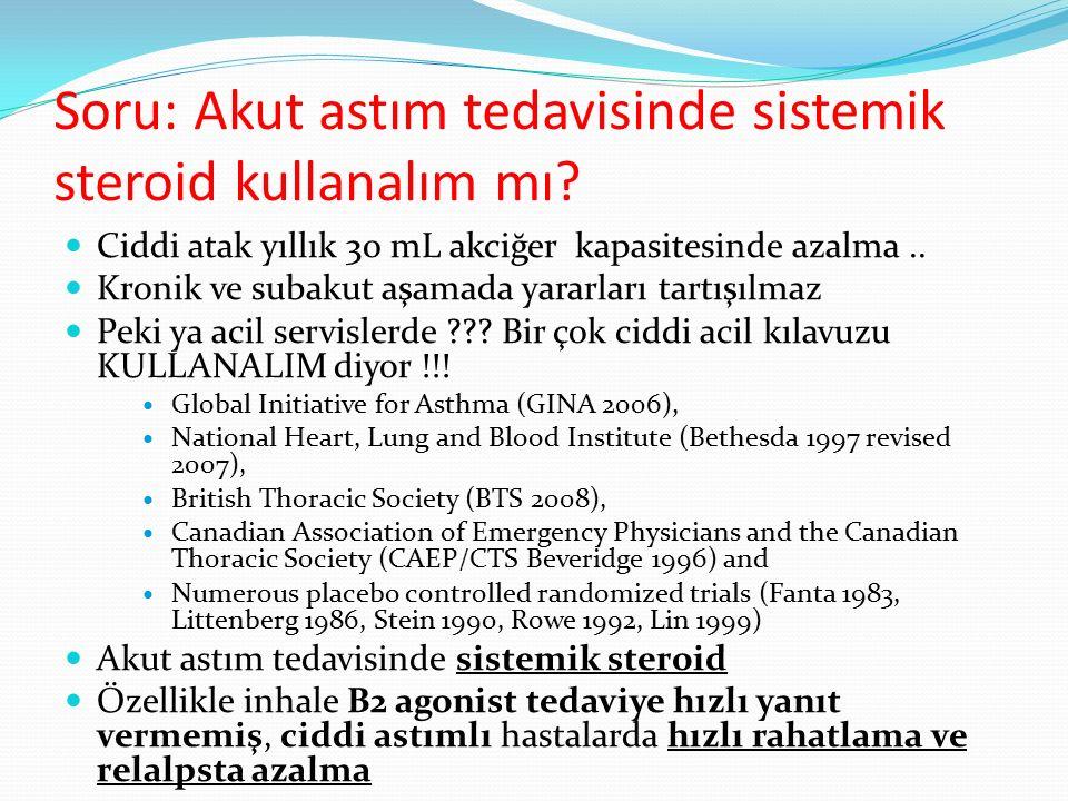 Soru: Akut astım tedavisinde sistemik steroid kullanalım mı? Ciddi atak yıllık 30 mL akciğer kapasitesinde azalma.. Kronik ve subakut aşamada yararlar
