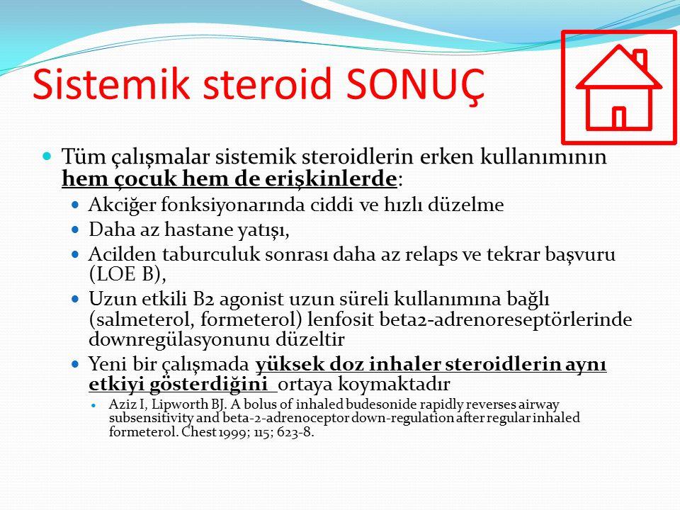 Sistemik steroid SONUÇ Tüm çalışmalar sistemik steroidlerin erken kullanımının hem çocuk hem de erişkinlerde: Akciğer fonksiyonarında ciddi ve hızlı d