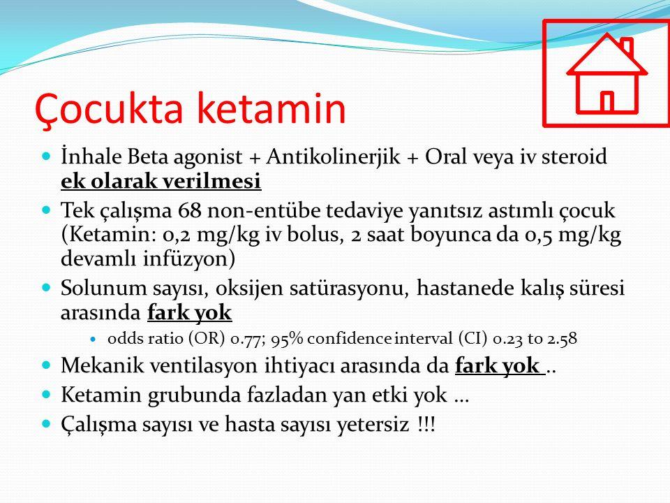 Çocukta ketamin İnhale Beta agonist + Antikolinerjik + Oral veya iv steroid ek olarak verilmesi Tek çalışma 68 non-entübe tedaviye yanıtsız astımlı ço