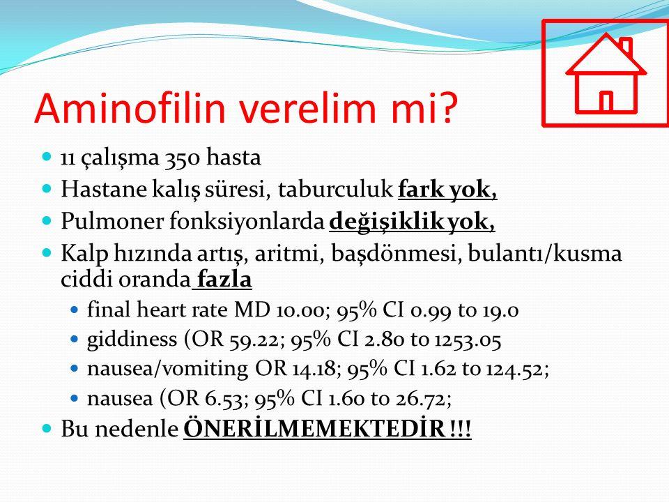 Aminofilin verelim mi? 11 çalışma 350 hasta Hastane kalış süresi, taburculuk fark yok, Pulmoner fonksiyonlarda değişiklik yok, Kalp hızında artış, ari