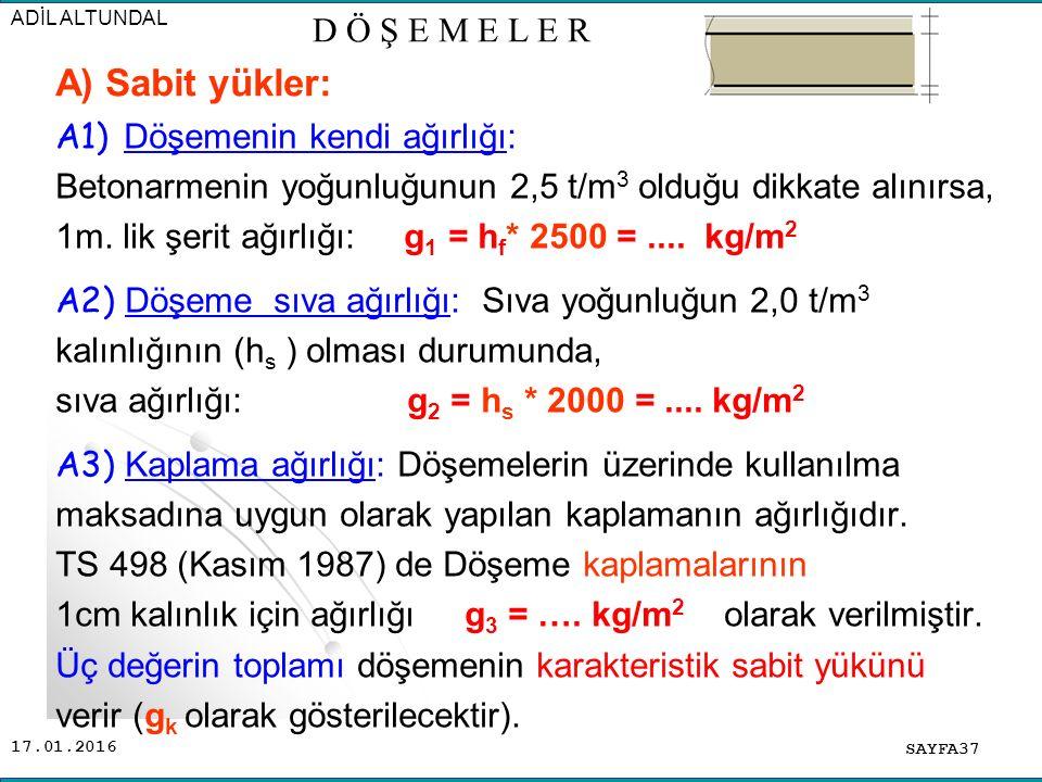 17.01.2016 A1) Döşemenin kendi ağırlığı: Betonarmenin yoğunluğunun 2,5 t/m 3 olduğu dikkate alınırsa, 1m.