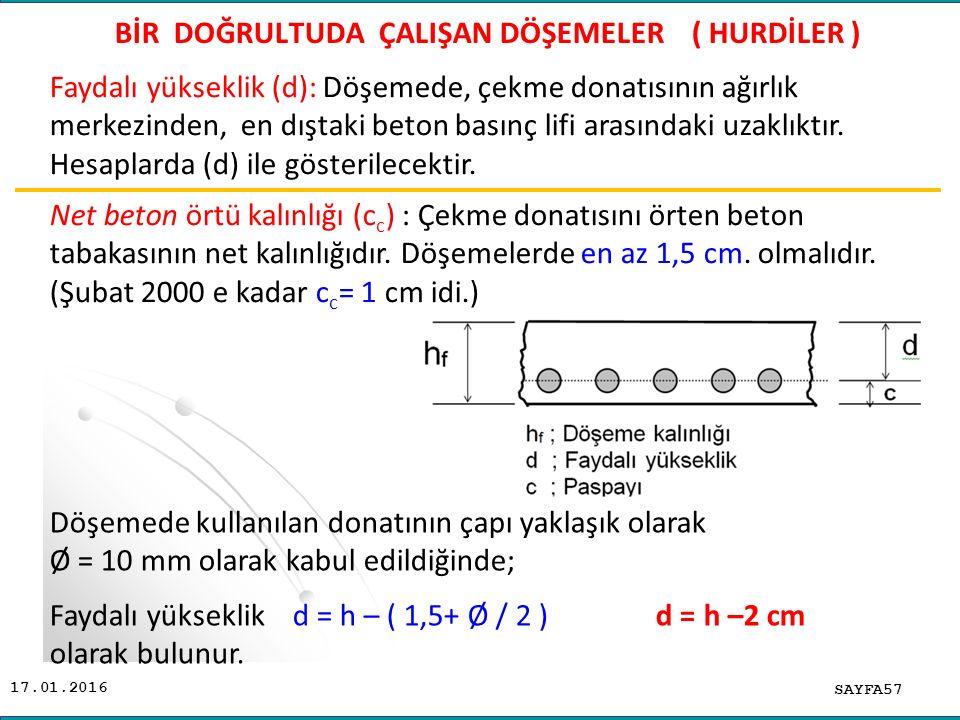 17.01.2016 SAYFA57 BİR DOĞRULTUDA ÇALIŞAN DÖŞEMELER ( HURDİLER ) Döşemede kullanılan donatının çapı yaklaşık olarak Ø = 10 mm olarak kabul edildiğinde; Faydalı yükseklik d = h – ( 1,5+ Ø / 2 ) d = h –2 cm olarak bulunur.