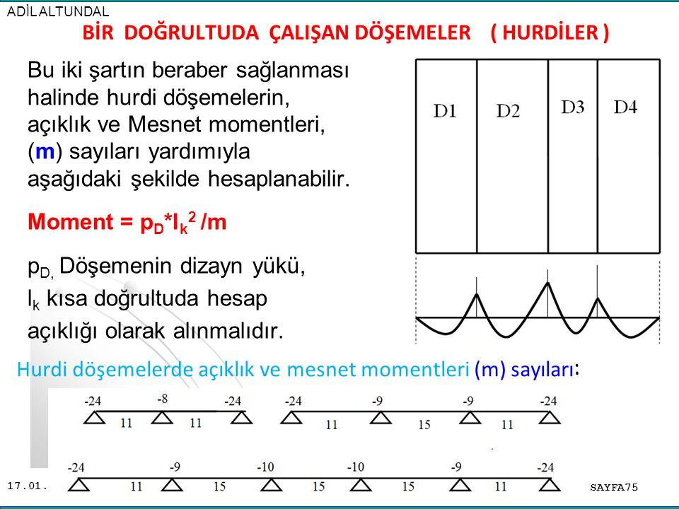 17.01.2016 Bu iki şartın beraber sağlanması halinde hurdi döşemelerin, açıklık ve Mesnet momentleri, (m) sayıları yardımıyla aşağıdaki şekilde hesaplanabilir.
