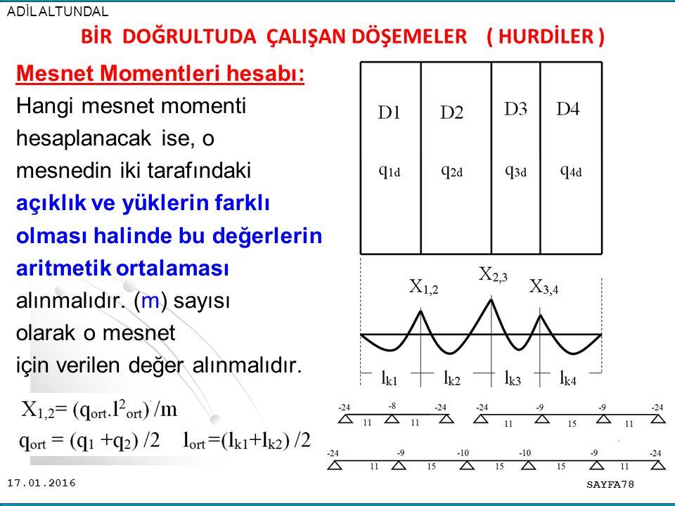 17.01.2016 Mesnet Momentleri hesabı: Hangi mesnet momenti hesaplanacak ise, o mesnedin iki tarafındaki açıklık ve yüklerin farklı olması halinde bu değerlerin aritmetik ortalaması alınmalıdır.