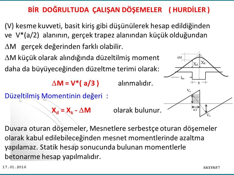 17.01.2016 (V) kesme kuvveti, basit kiriş gibi düşünülerek hesap edildiğinden ve V*(a/2) alanının, gerçek trapez alanından küçük olduğundan  M gerçek değerinden farklı olabilir.