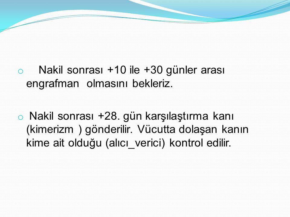 o Nakil sonrası +10 ile +30 günler arası engrafman olmasını bekleriz. o Nakil sonrası +28. gün karşılaştırma kanı (kimerizm ) gönderilir. Vücutta dola