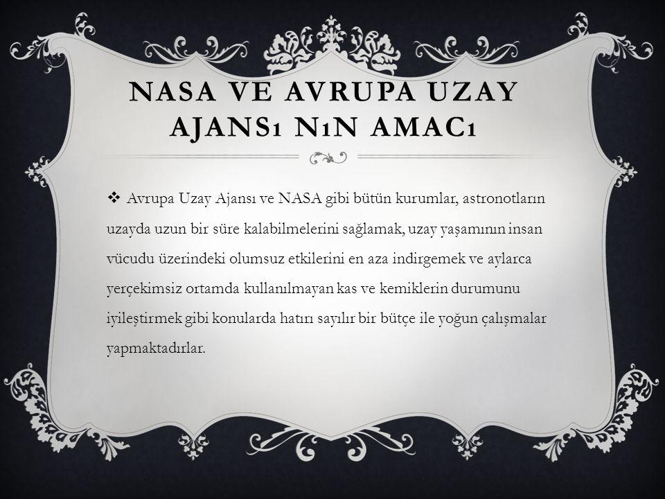 NASA VE AVRUPA UZAY AJANSı NıN AMACı  Avrupa Uzay Ajansı ve NASA gibi bütün kurumlar, astronotların uzayda uzun bir süre kalabilmelerini sağlamak, uz