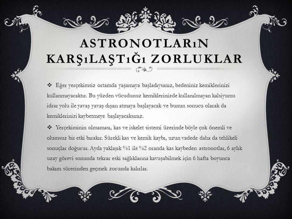 UZAYA GIDEN ASTRONOTLAR  Yuri Gagarin (uzaya ilk çıkan)  Alan Shepard (uzaya ilk çıkan)  Neil Armstrong (aya ilk ayak basan)  Edwin Aldrin (aya ikinci kez ayak basan)  Romanenko (uzayda 326 gün kaldı)  Valentina Tereshkova (uzaya giden ilk kadın)  Sally Rider (Uzaya giden en genç insan)  Aleksei Leonov (İlk uzay yürüyüşü)