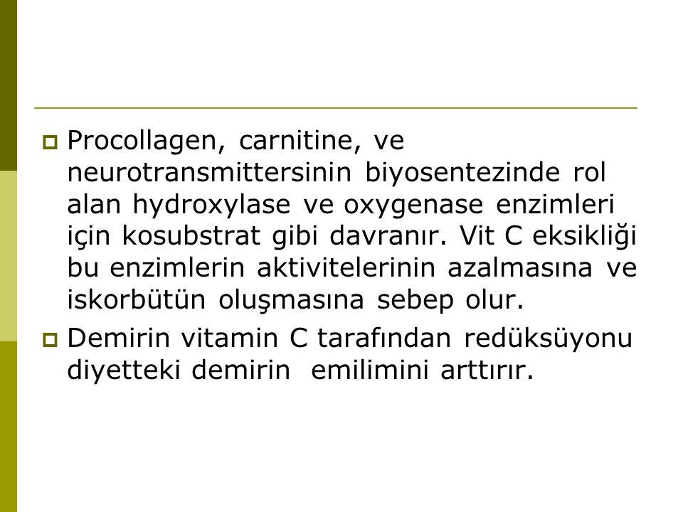  Procollagen, carnitine, ve neurotransmittersinin biyosentezinde rol alan hydroxylase ve oxygenase enzimleri için kosubstrat gibi davranır. Vit C eks