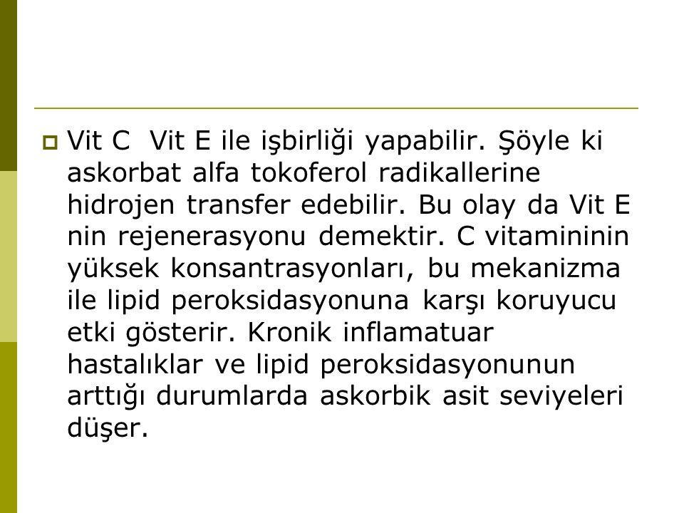  Vit C Vit E ile işbirliği yapabilir. Şöyle ki askorbat alfa tokoferol radikallerine hidrojen transfer edebilir. Bu olay da Vit E nin rejenerasyonu d