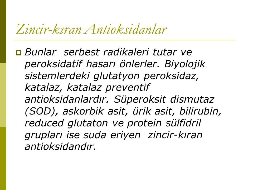Zincir-kıran Antioksidanlar  Bunlar serbest radikaleri tutar ve peroksidatif hasarı önlerler. Biyolojik sistemlerdeki glutatyon peroksidaz, katalaz,