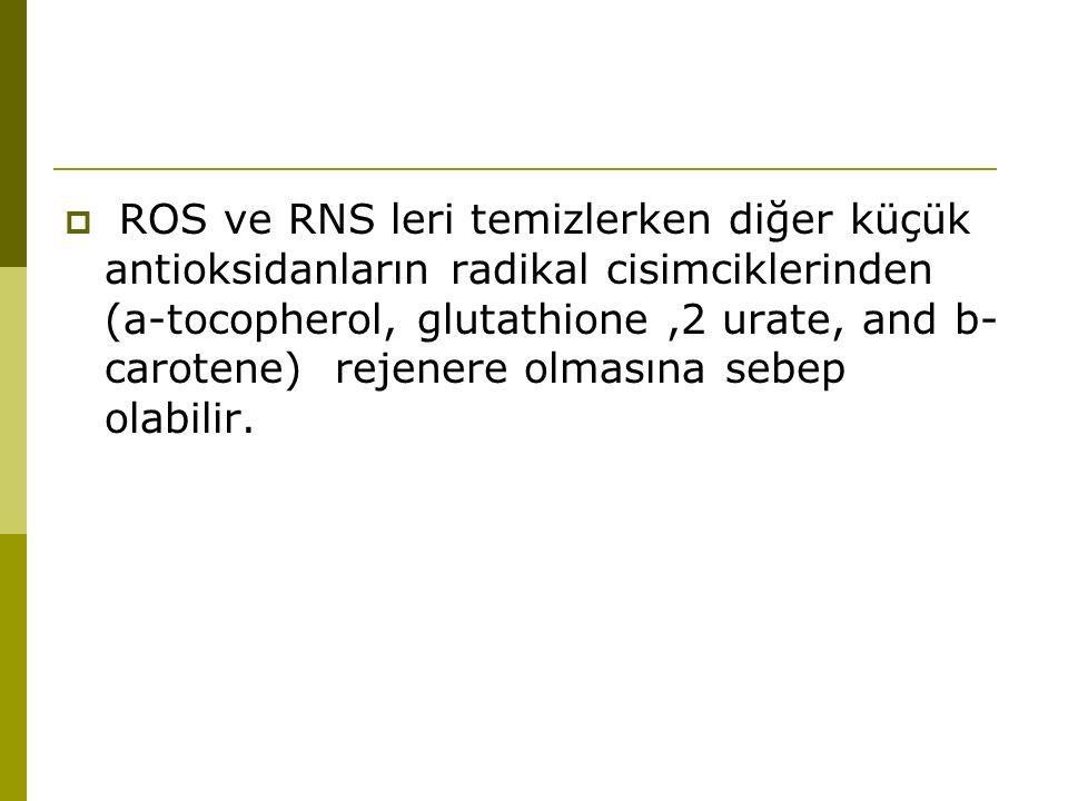  ROS ve RNS leri temizlerken diğer küçük antioksidanların radikal cisimciklerinden (a-tocopherol, glutathione,2 urate, and b- carotene) rejenere olma