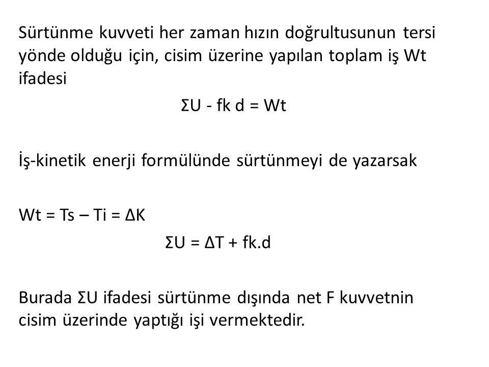 Sürtünme kuvveti her zaman hızın doğrultusunun tersi yönde olduğu için, cisim üzerine yapılan toplam iş Wt ifadesi ΣU - fk d = Wt İş-kinetik enerji formülünde sürtünmeyi de yazarsak Wt = Ts – Ti = ΔK ΣU = ΔT + fk.d Burada ΣU ifadesi sürtünme dışında net F kuvvetnin cisim üzerinde yaptığı işi vermektedir.