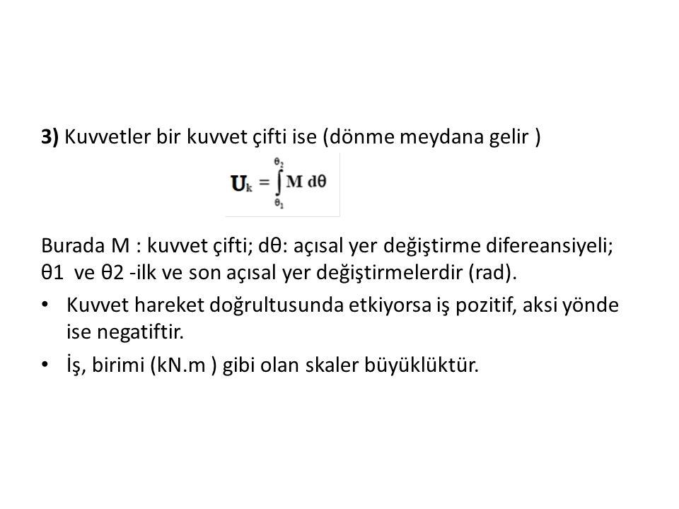 3) Kuvvetler bir kuvvet çifti ise (dönme meydana gelir ) Burada M : kuvvet çifti; dθ: açısal yer değiştirme difereansiyeli; θ1 ve θ2 -ilk ve son açısal yer değiştirmelerdir (rad).