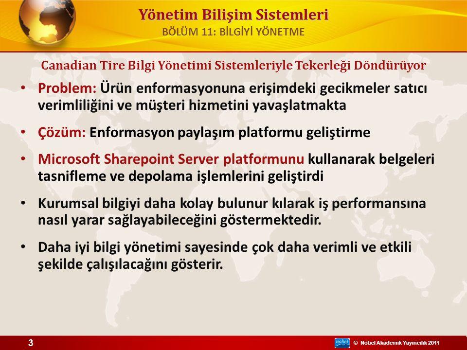 © Nobel Akademik Yayıncılık 2011 Yönetim Bilişim Sistemleri Problem: Ürün enformasyonuna erişimdeki gecikmeler satıcı verimliliğini ve müşteri hizmetini yavaşlatmakta Çözüm: Enformasyon paylaşım platformu geliştirme Microsoft Sharepoint Server platformunu kullanarak belgeleri tasnifleme ve depolama işlemlerini geliştirdi Kurumsal bilgiyi daha kolay bulunur kılarak iş performansına nasıl yarar sağlayabileceğini göstermektedir.