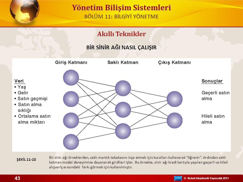 © Nobel Akademik Yayıncılık 2011 Yönetim Bilişim Sistemleri Akıllı Teknikler BİR SİNİR AĞI NASIL ÇALIŞIR Bir sinir ağı örneklerden, saklı mantık tabakasını inşa etmek için kuralları kullanarak öğrenir .