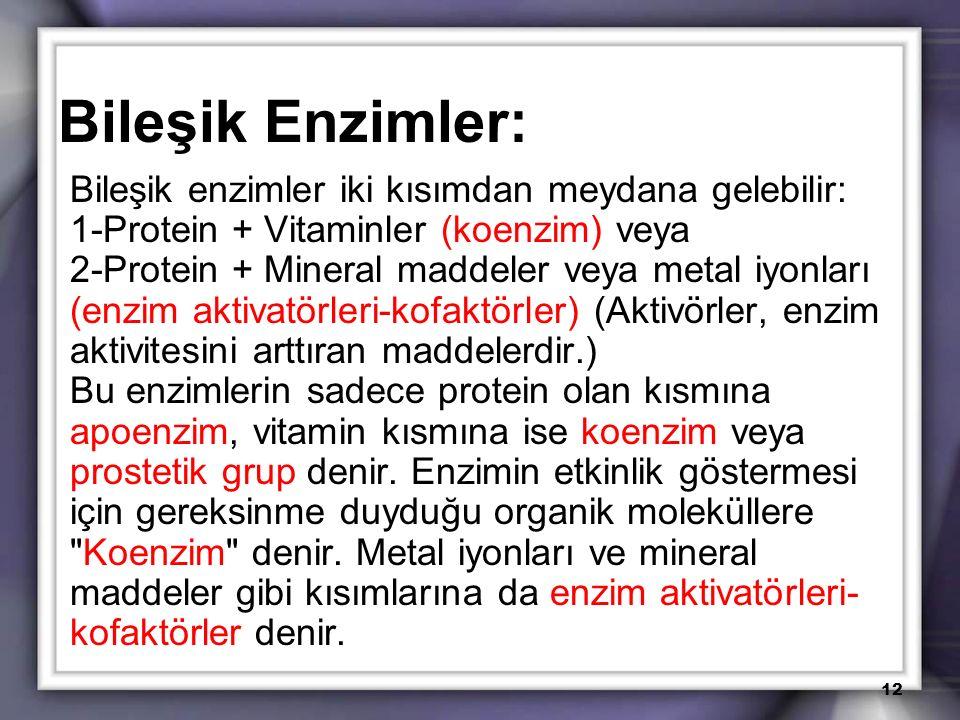 Bileşik Enzimler: Bileşik enzimler iki kısımdan meydana gelebilir: 1-Protein + Vitaminler (koenzim) veya 2-Protein + Mineral maddeler veya metal iyonl