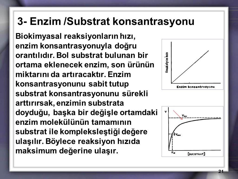 3- Enzim /Substrat konsantrasyonu Biokimyasal reaksiyonların hızı, enzim konsantrasyonuyla doğru orantılıdır. Bol substrat bulunan bir ortama eklenece