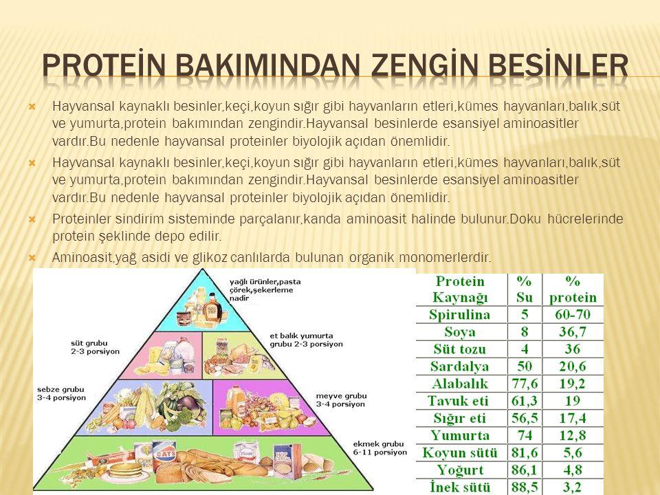  Hayvansal kaynaklı besinler,keçi,koyun sığır gibi hayvanların etleri,kümes hayvanları,balık,süt ve yumurta,protein bakımından zengindir.Hayvansal be