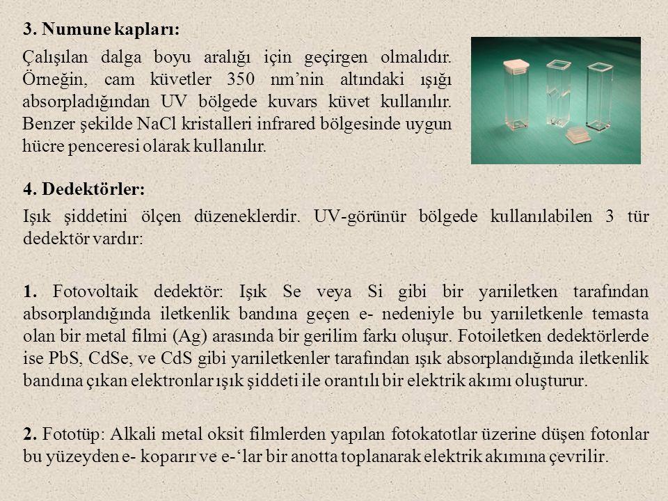 3. Numune kapları: 4. Dedektörler: Işık şiddetini ölçen düzeneklerdir. UV-görünür bölgede kullanılabilen 3 tür dedektör vardır: 1. Fotovoltaik dedektö