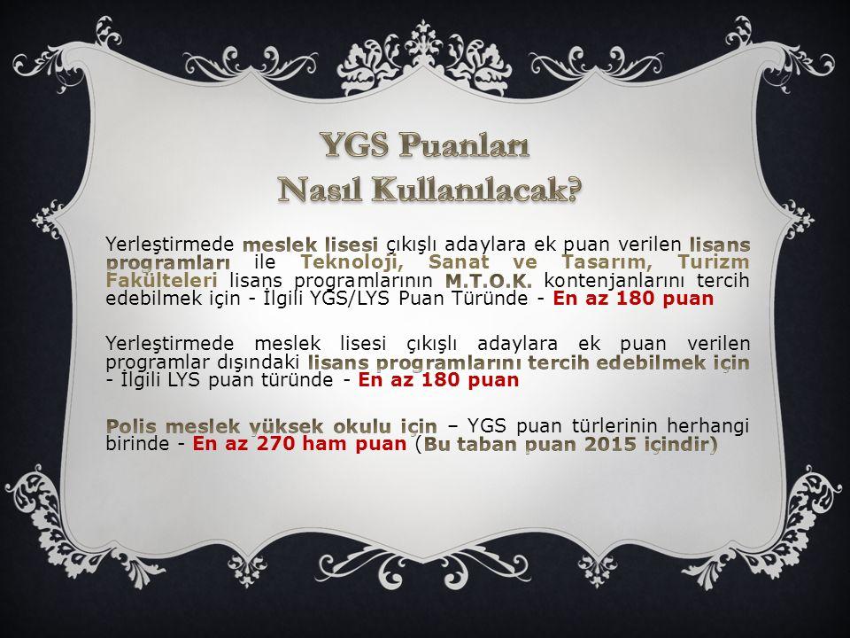  YGS'deki testlerin LYS puan türlerinin hesaplanmasına etkisi ortalama %40 olmaktadır.