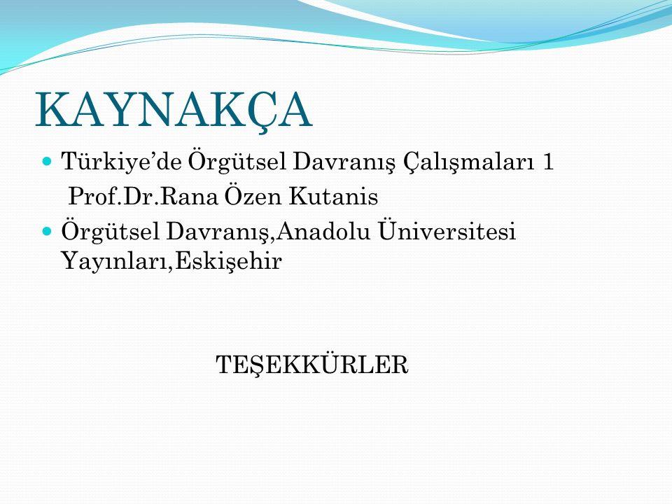 KAYNAKÇA Türkiye'de Örgütsel Davranış Çalışmaları 1 Prof.Dr.Rana Özen Kutanis Örgütsel Davranış,Anadolu Üniversitesi Yayınları,Eskişehir TEŞEKKÜRLER