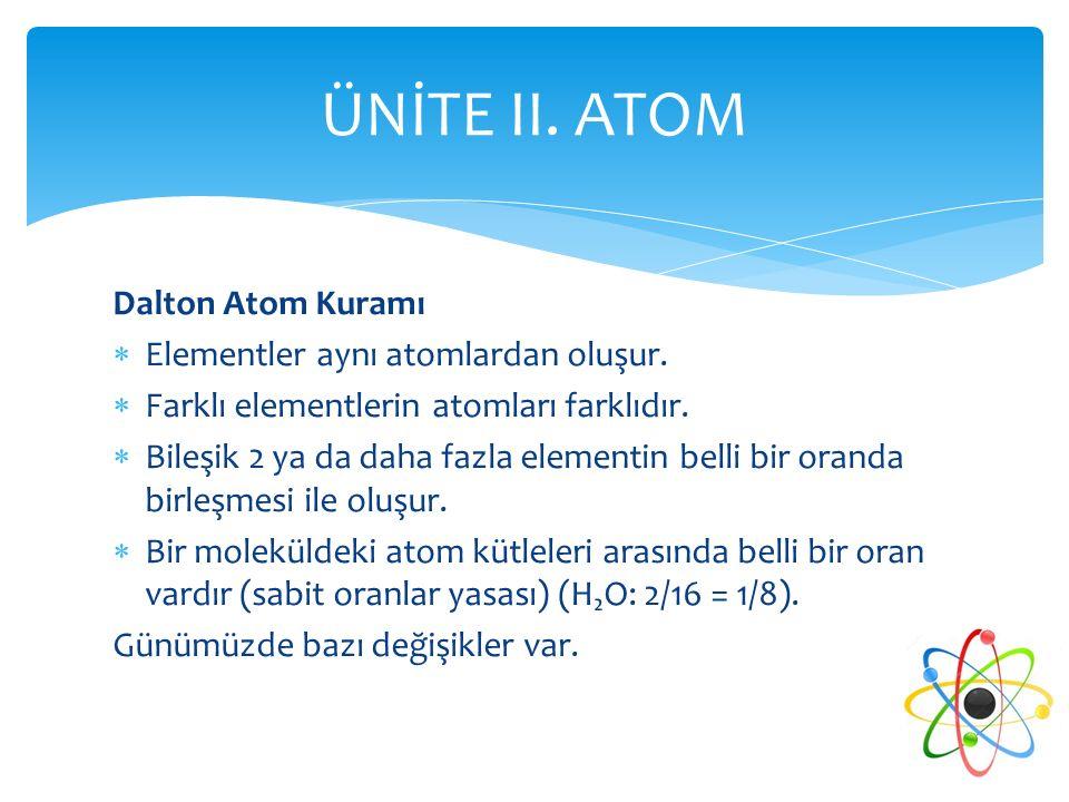 Dalton Atom Kuramı  Elementler aynı atomlardan oluşur.  Farklı elementlerin atomları farklıdır.  Bileşik 2 ya da daha fazla elementin belli bir ora