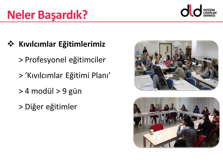  Kıvılcımlar Eğitimlerimiz > Profesyonel eğitimciler > 'Kıvılcımlar Eğitimi Planı' > 4 modül > 9 gün > Diğer eğitimler Neler Başardık?