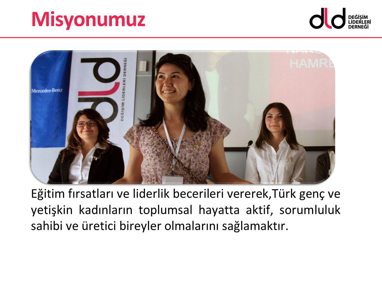 Misyonumuz Eğitim fırsatları ve liderlik becerileri vererek,Türk genç ve yetişkin kadınların toplumsal hayatta aktif, sorumluluk sahibi ve üretici bir