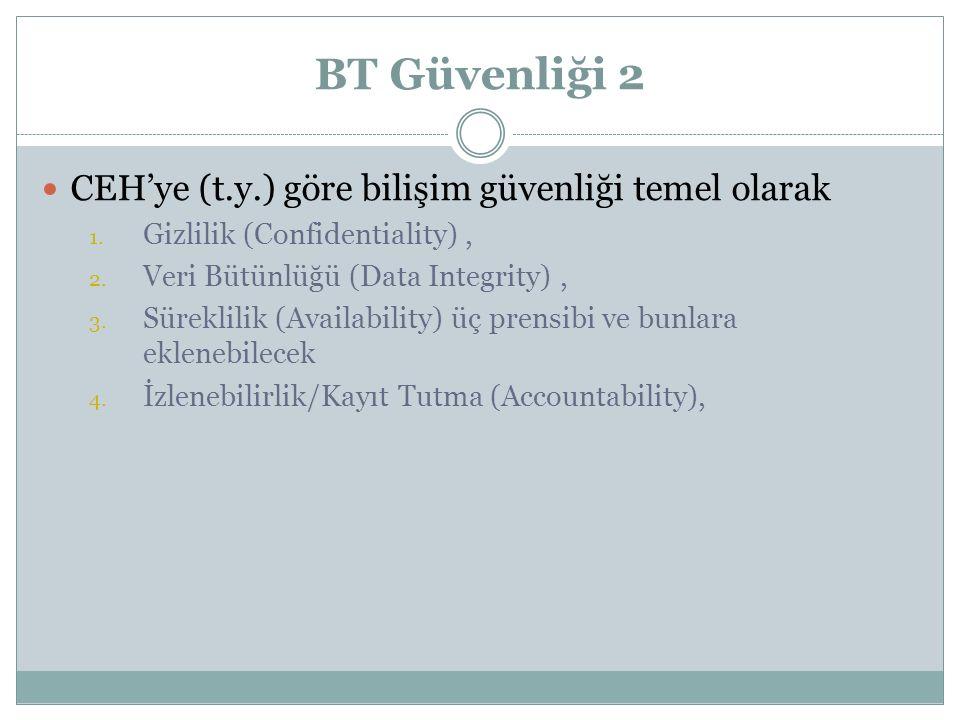 BT Güvenliği 2 CEH'ye (t.y.) göre bilişim güvenliği temel olarak 1.