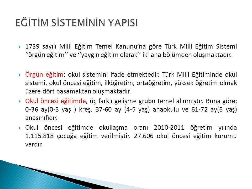  1739 sayılı Milli Eğitim Temel Kanunu'na göre Türk Milli Eğitim Sistemi ''örgün eğitim'' ve ''yaygın eğitim olarak'' iki ana bölümden oluşmaktadır.