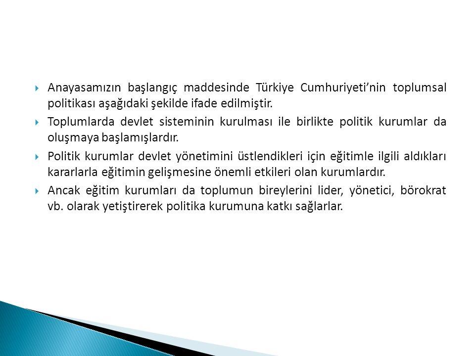  Anayasamızın başlangıç maddesinde Türkiye Cumhuriyeti'nin toplumsal politikası aşağıdaki şekilde ifade edilmiştir.  Toplumlarda devlet sisteminin k