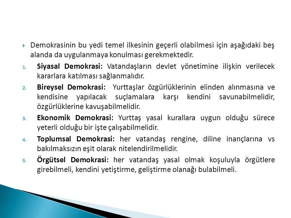  Demokrasinin bu yedi temel ilkesinin geçerli olabilmesi için aşağıdaki beş alanda da uygulanmaya konulması gerekmektedir. 1. Siyasal Demokrasi: Vata