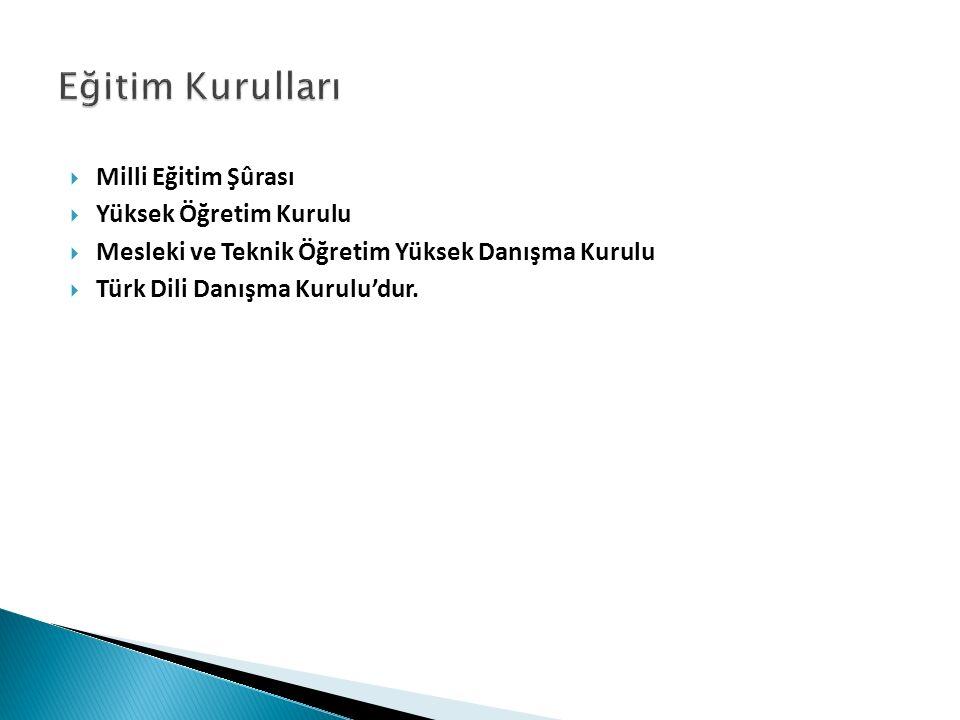  Milli Eğitim Şûrası  Yüksek Öğretim Kurulu  Mesleki ve Teknik Öğretim Yüksek Danışma Kurulu  Türk Dili Danışma Kurulu'dur.