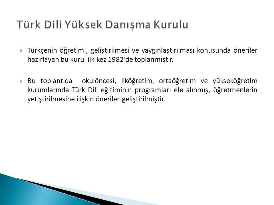  Türkçenin öğretimi, geliştirilmesi ve yaygınlaştırılması konusunda öneriler hazırlayan bu kurul ilk kez 1982'de toplanmıştır.  Bu toplantıda okulön