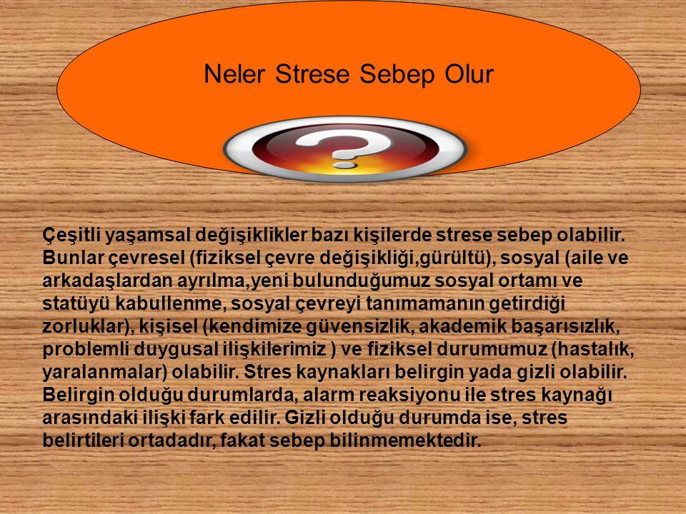 Çeşitli yaşamsal değişiklikler bazı kişilerde strese sebep olabilir. Bunlar çevresel (fiziksel çevre değişikliği,gürültü), sosyal (aile ve arkadaşlard